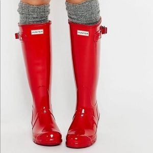 Hunter Tall Gloss Red Boots